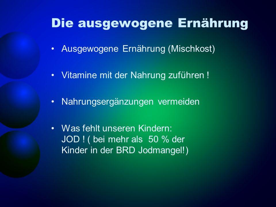 Die ausgewogene Ernährung Ausgewogene Ernährung (Mischkost) Vitamine mit der Nahrung zuführen ! Nahrungsergänzungen vermeiden Was fehlt unseren Kinder