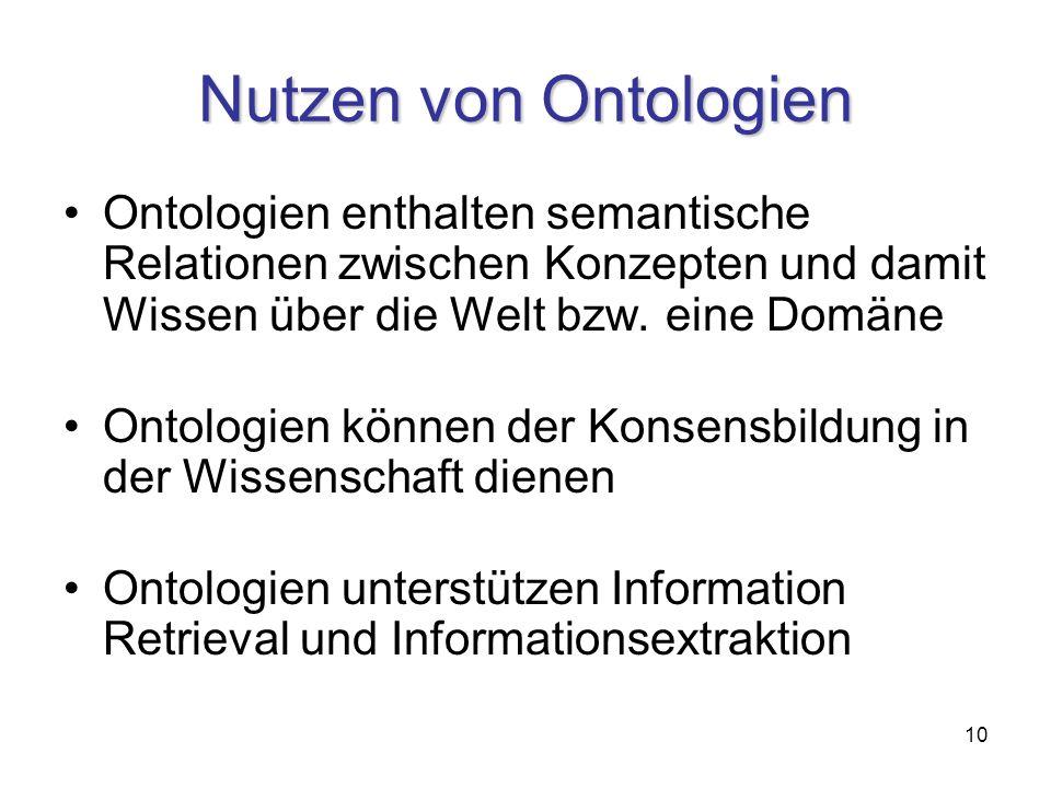 10 Nutzen von Ontologien Ontologien enthalten semantische Relationen zwischen Konzepten und damit Wissen über die Welt bzw.