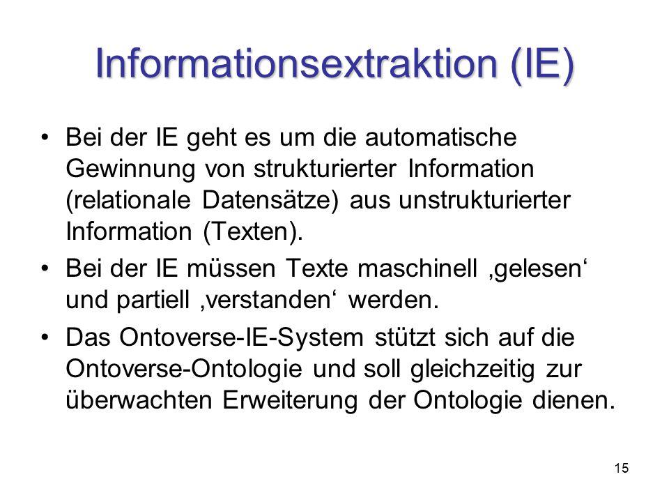 15 Informationsextraktion (IE) Bei der IE geht es um die automatische Gewinnung von strukturierter Information (relationale Datensätze) aus unstrukturierter Information (Texten).
