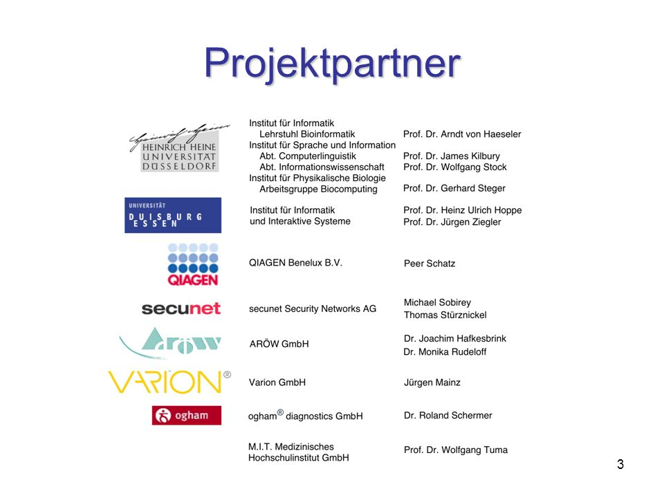 3 Projektpartner