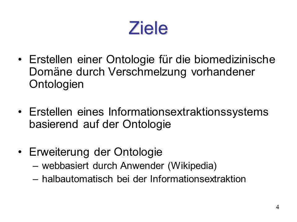 4 Ziele Erstellen einer Ontologie für die biomedizinische Domäne durch Verschmelzung vorhandener Ontologien Erstellen eines Informationsextraktionssystems basierend auf der Ontologie Erweiterung der Ontologie –webbasiert durch Anwender (Wikipedia) –halbautomatisch bei der Informationsextraktion
