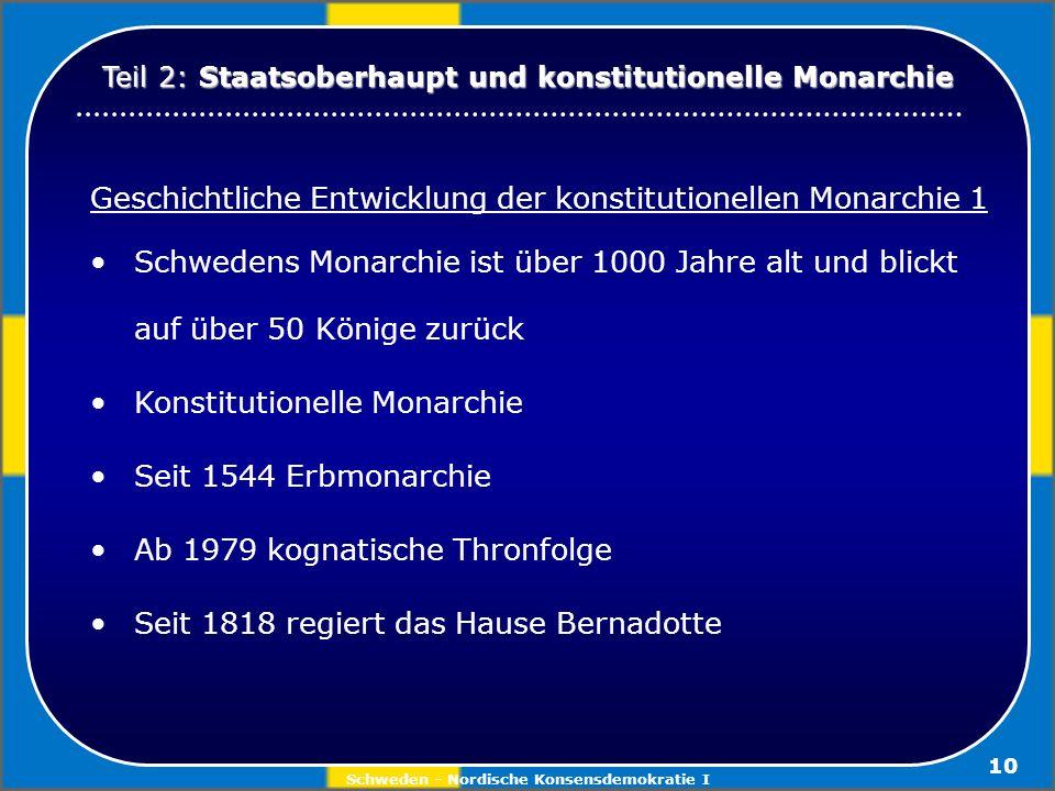 Schweden - Nordische Konsensdemokratie I 10 Geschichtliche Entwicklung der konstitutionellen Monarchie 1 Schwedens Monarchie ist über 1000 Jahre alt u