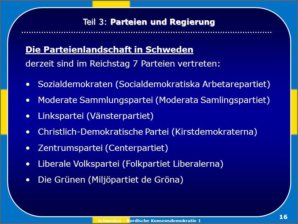 Schweden - Nordische Konsensdemokratie I 16 Die Parteienlandschaft in Schweden derzeit sind im Reichstag 7 Parteien vertreten: Sozialdemokraten (Socia