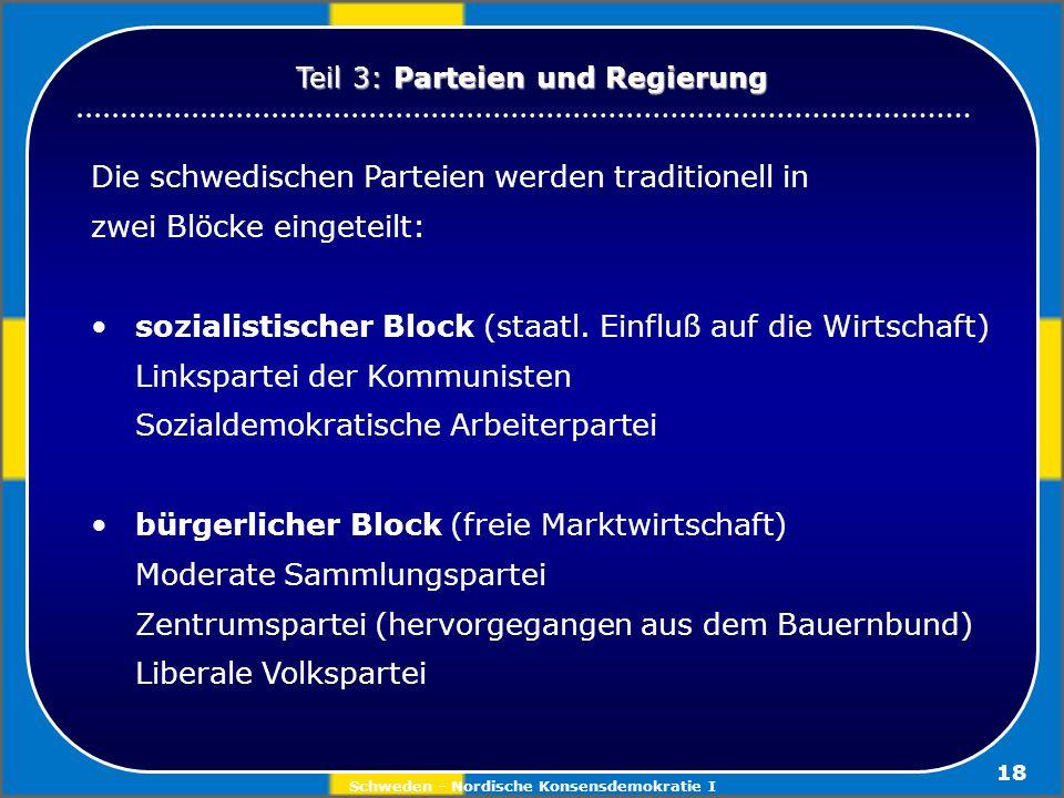 Schweden - Nordische Konsensdemokratie I 18 Die schwedischen Parteien werden traditionell in zwei Blöcke eingeteilt: sozialistischer Block (staatl. Ei