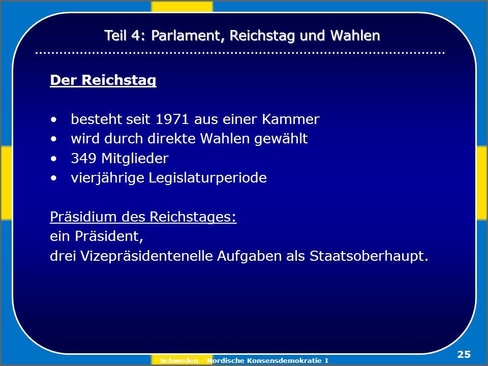 Schweden - Nordische Konsensdemokratie I 25 Der Reichstag besteht seit 1971 aus einer Kammer wird durch direkte Wahlen gewählt 349 Mitglieder vierjähr