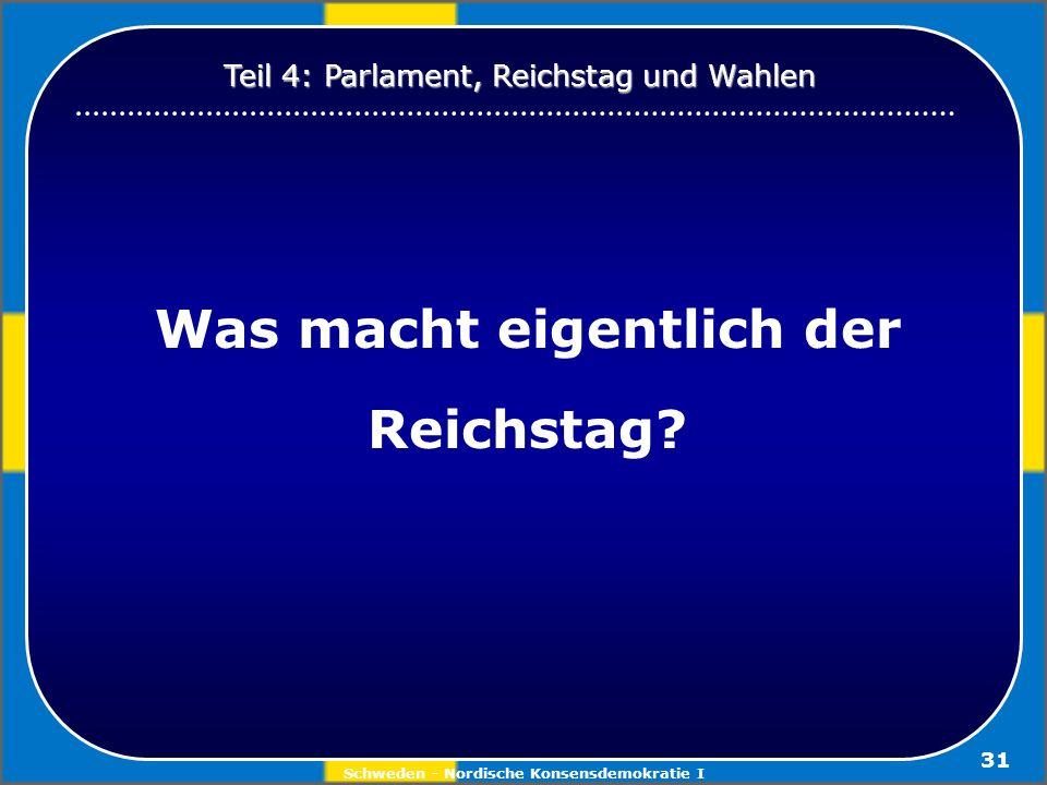 Schweden - Nordische Konsensdemokratie I 31 Was macht eigentlich der Reichstag? Teil 4: Parlament, Reichstag und Wahlen