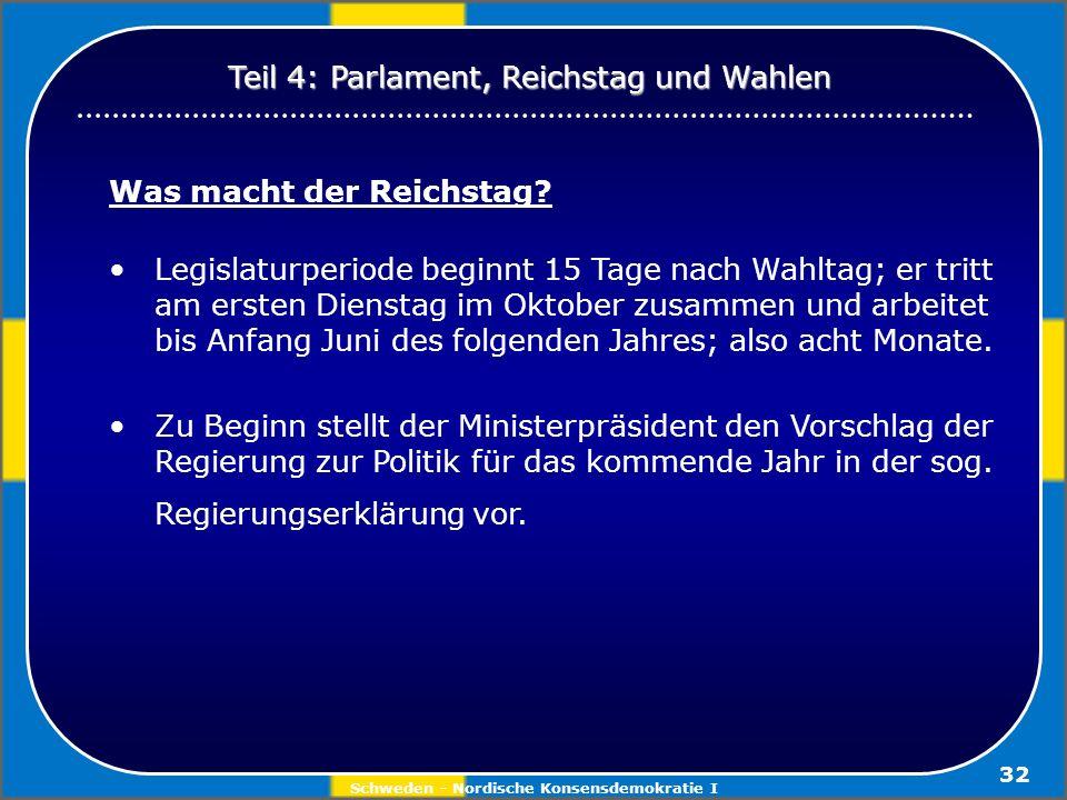 Schweden - Nordische Konsensdemokratie I 32 Was macht der Reichstag? Legislaturperiode beginnt 15 Tage nach Wahltag; er tritt am ersten Dienstag im Ok