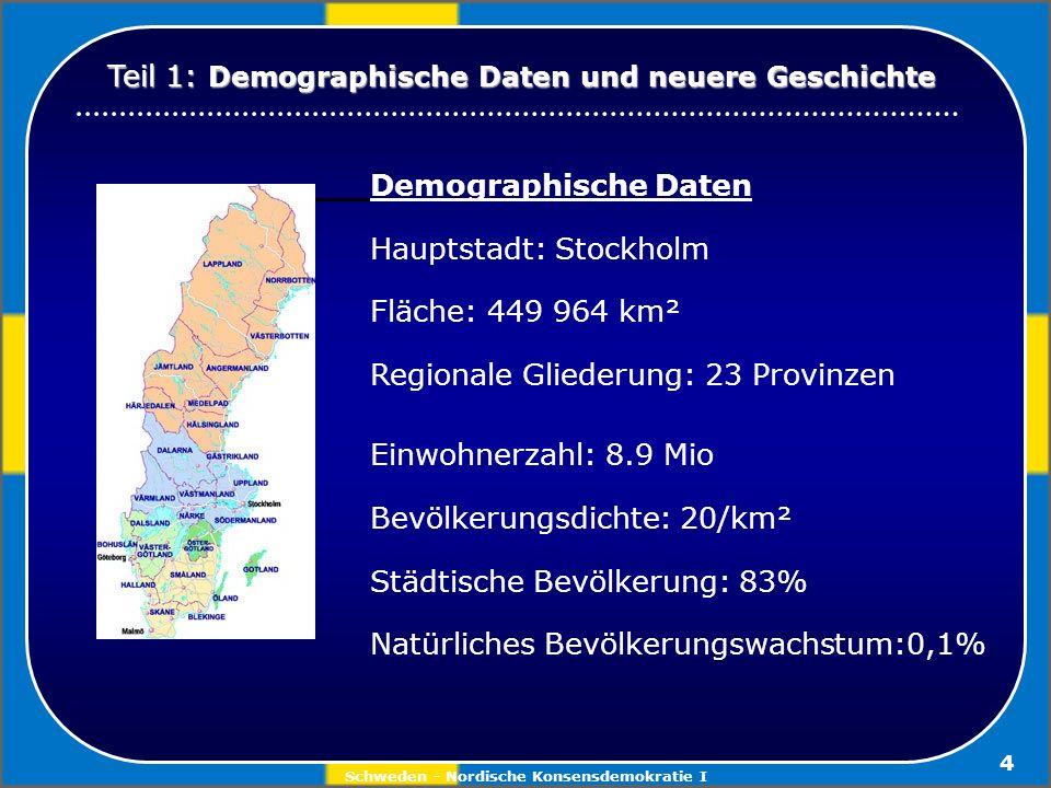 Schweden - Nordische Konsensdemokratie I 4 Demographische Daten Hauptstadt: Stockholm Fläche: 449 964 km² Regionale Gliederung: 23 Provinzen Einwohner