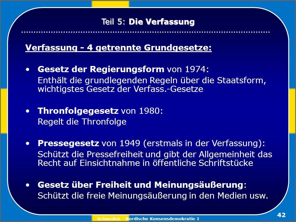 Schweden - Nordische Konsensdemokratie I 42 Verfassung - 4 getrennte Grundgesetze: Gesetz der Regierungsform von 1974: Enthält die grundlegenden Regel