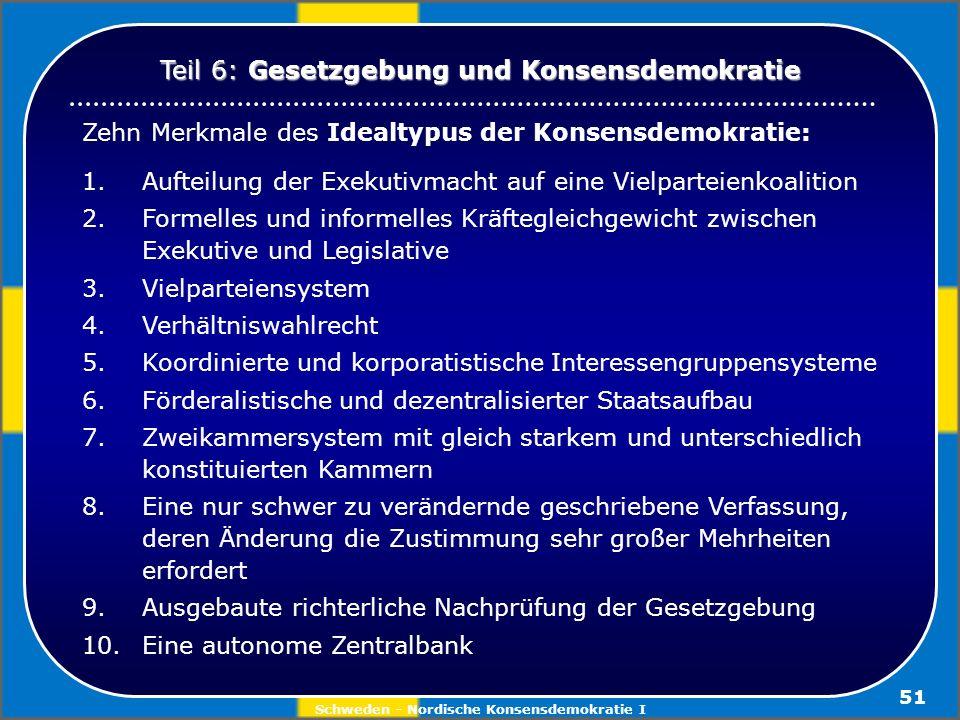 Schweden - Nordische Konsensdemokratie I 51 Zehn Merkmale des Idealtypus der Konsensdemokratie: 1. Aufteilung der Exekutivmacht auf eine Vielparteienk