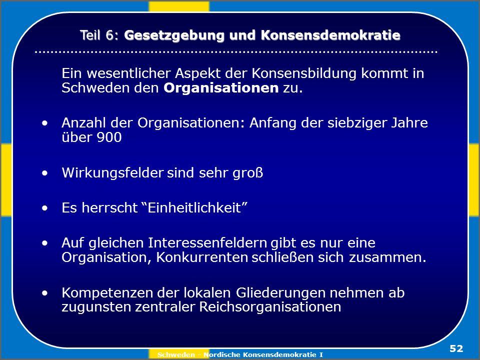 Schweden - Nordische Konsensdemokratie I 52 Ein wesentlicher Aspekt der Konsensbildung kommt in Schweden den Organisationen zu. Anzahl der Organisatio