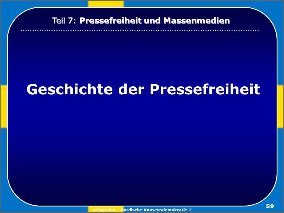 Schweden - Nordische Konsensdemokratie I 59 Geschichte der Pressefreiheit Teil 7: Pressefreiheit und Massenmedien
