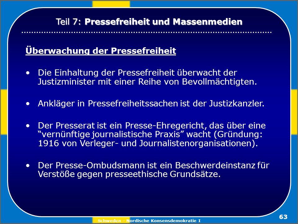 Schweden - Nordische Konsensdemokratie I 63 Überwachung der Pressefreiheit Die Einhaltung der Pressefreiheit überwacht der Justizminister mit einer Re