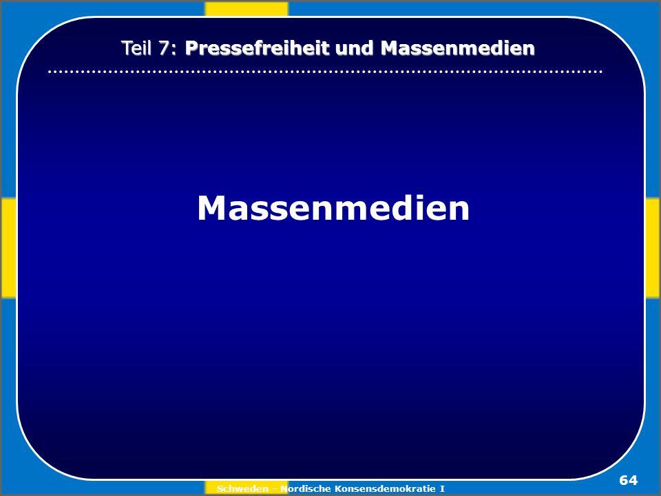 Schweden - Nordische Konsensdemokratie I 64 Massenmedien Teil 7: Pressefreiheit und Massenmedien