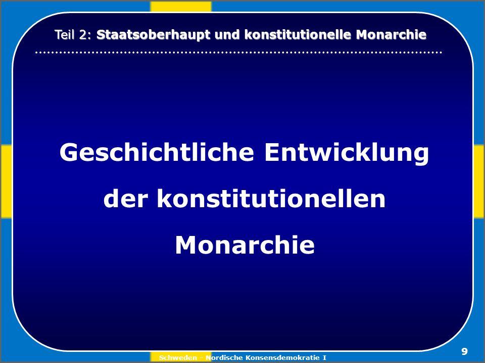 Schweden - Nordische Konsensdemokratie I 9 Geschichtliche Entwicklung der konstitutionellen Monarchie Teil 2: Staatsoberhaupt und konstitutionelle Mon