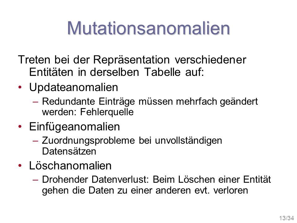 13/34 Mutationsanomalien Treten bei der Repräsentation verschiedener Entitäten in derselben Tabelle auf: Updateanomalien –Redundante Einträge müssen m