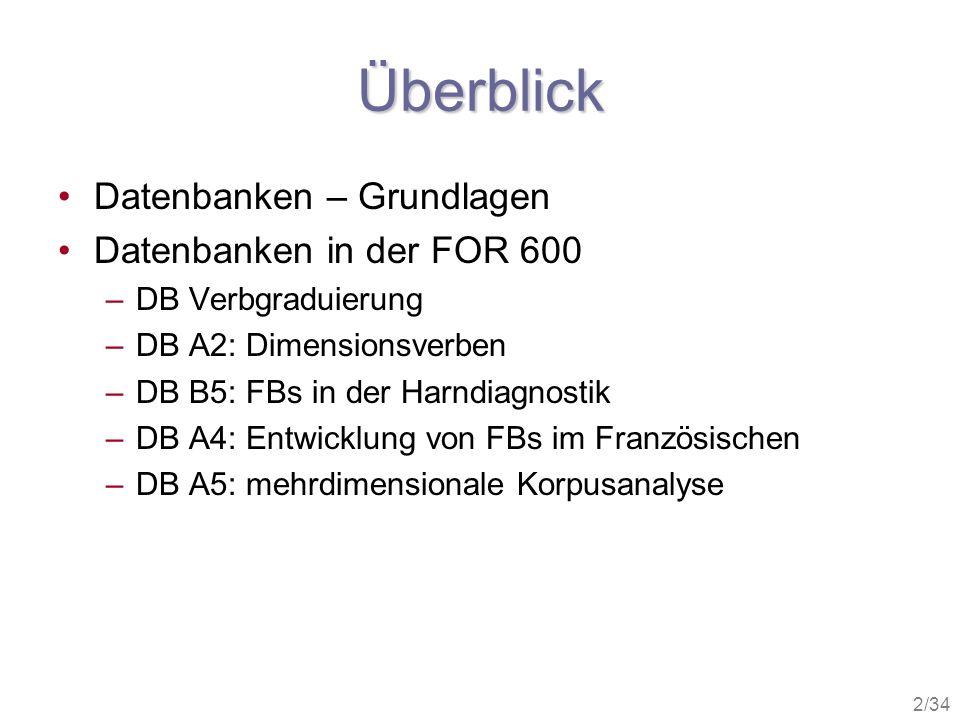 2/34 Überblick Datenbanken – Grundlagen Datenbanken in der FOR 600 –DB Verbgraduierung –DB A2: Dimensionsverben –DB B5: FBs in der Harndiagnostik –DB
