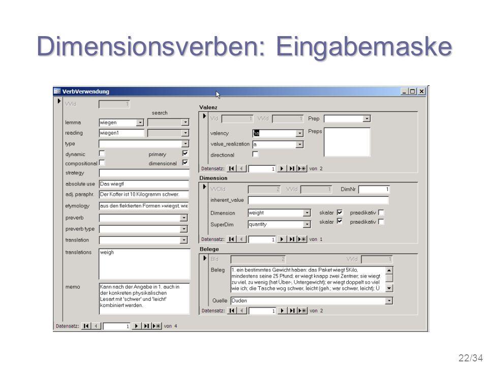 22/34 Dimensionsverben: Eingabemaske