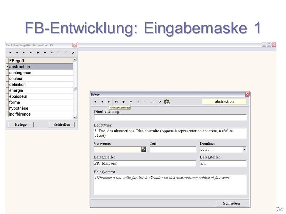27/34 FB-Entwicklung: Eingabemaske 1