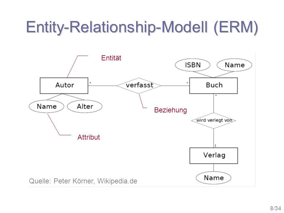 9/34 Aufbau relationaler DBs Relationale Datenbanken bestehen aus verknüpften Tabellen, die in Felder (Attribute) und Datensätze (Relationen, Tupel) organisiert sind.