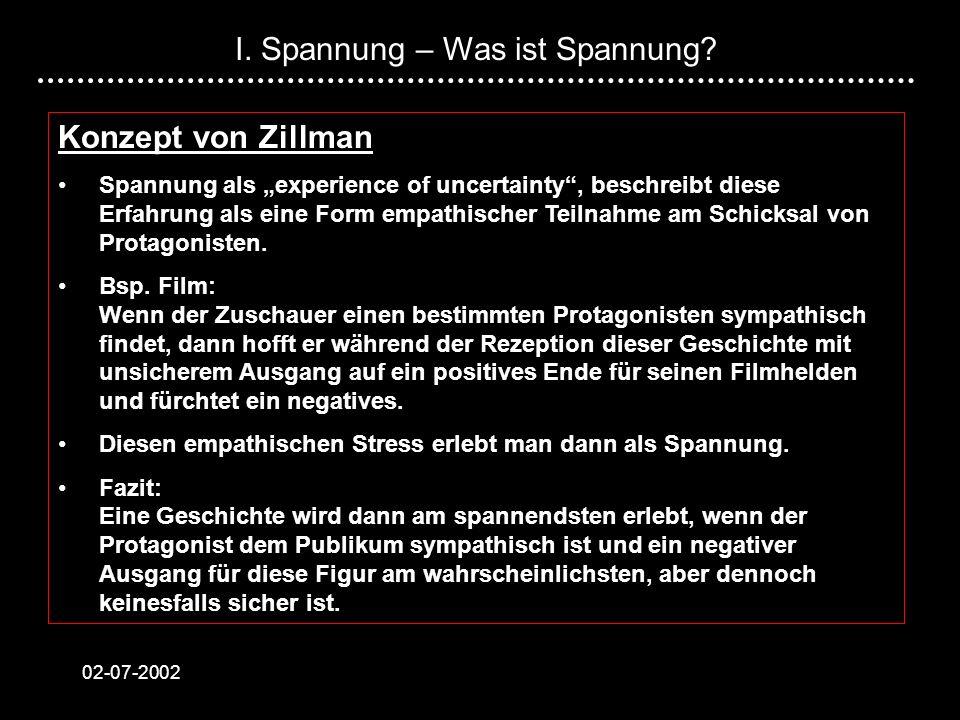02-07-2002 Konzept von Zillman Spannung als experience of uncertainty, beschreibt diese Erfahrung als eine Form empathischer Teilnahme am Schicksal vo