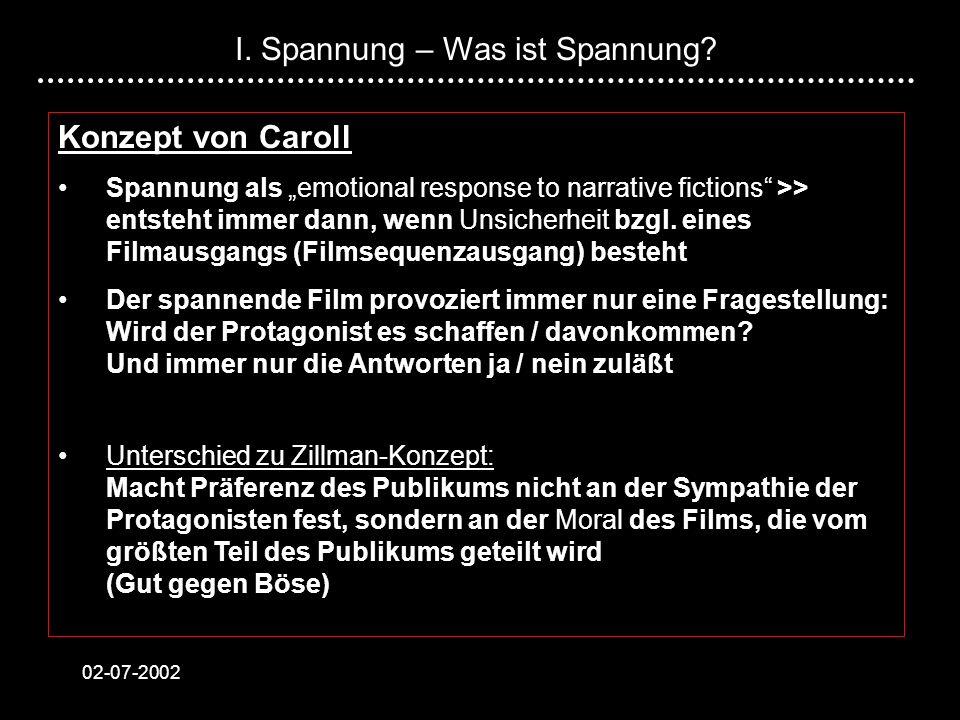 02-07-2002 Konzept von Caroll Spannung als emotional response to narrative fictions >> entsteht immer dann, wenn Unsicherheit bzgl. eines Filmausgangs
