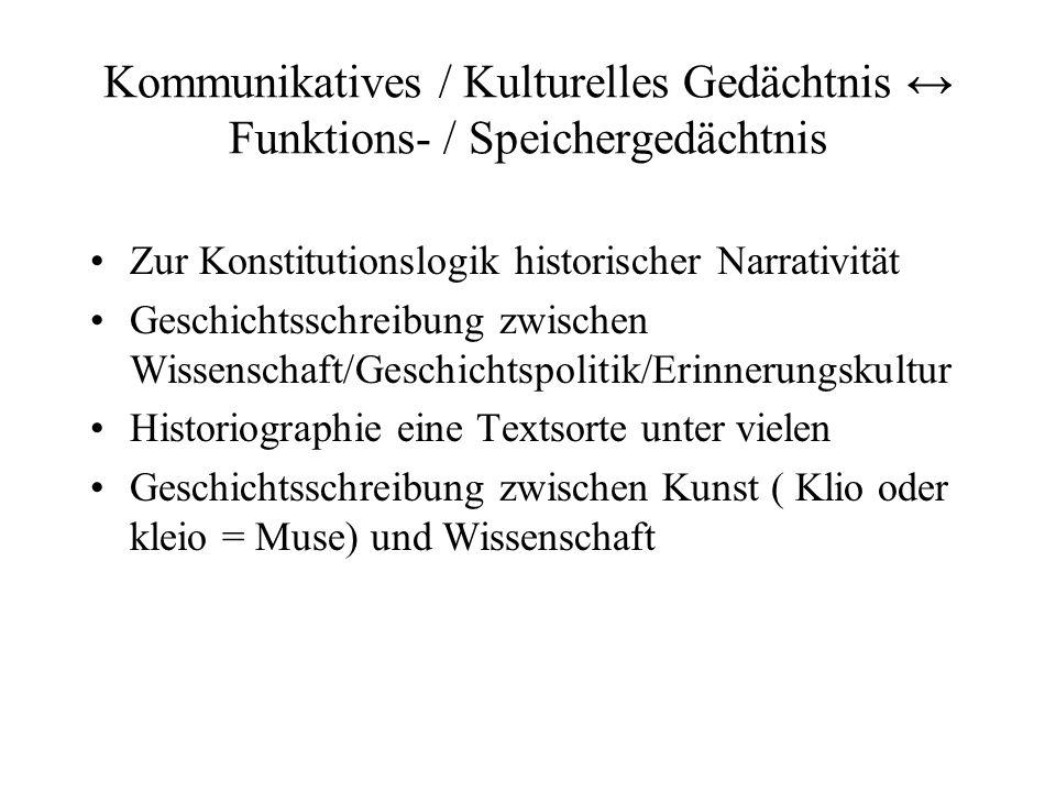Kommunikatives / Kulturelles Gedächtnis Funktions- / Speichergedächtnis Zur Konstitutionslogik historischer Narrativität Geschichtsschreibung zwischen