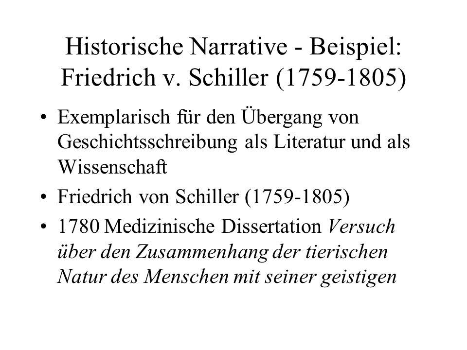 Historische Narrative - Beispiel: Friedrich v. Schiller (1759-1805) Exemplarisch für den Übergang von Geschichtsschreibung als Literatur und als Wisse