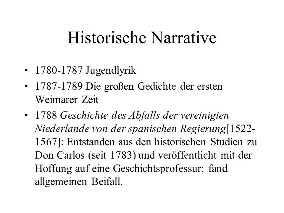 Historische Narrative 1780-1787 Jugendlyrik 1787-1789 Die großen Gedichte der ersten Weimarer Zeit 1788 Geschichte des Abfalls der vereinigten Niederl