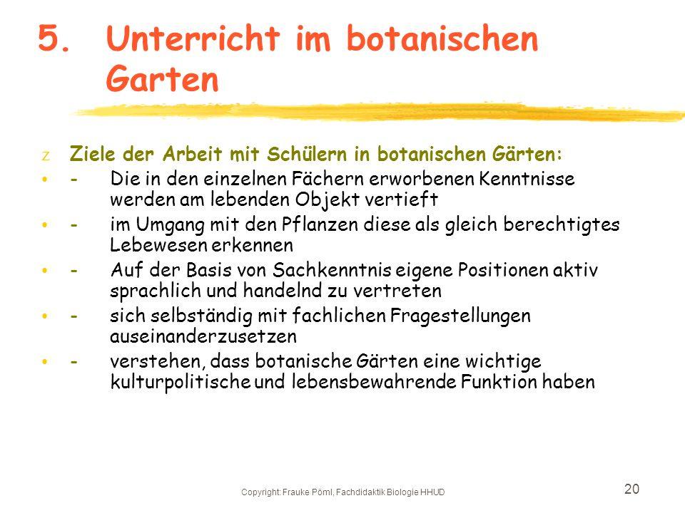Copyright: Frauke Pöml, Fachdidaktik Biologie HHUD 19 4.Warum umgestalten? z- es soll eine entspannte Lernatmosphäre angeboten werden z- Wege- und Bee