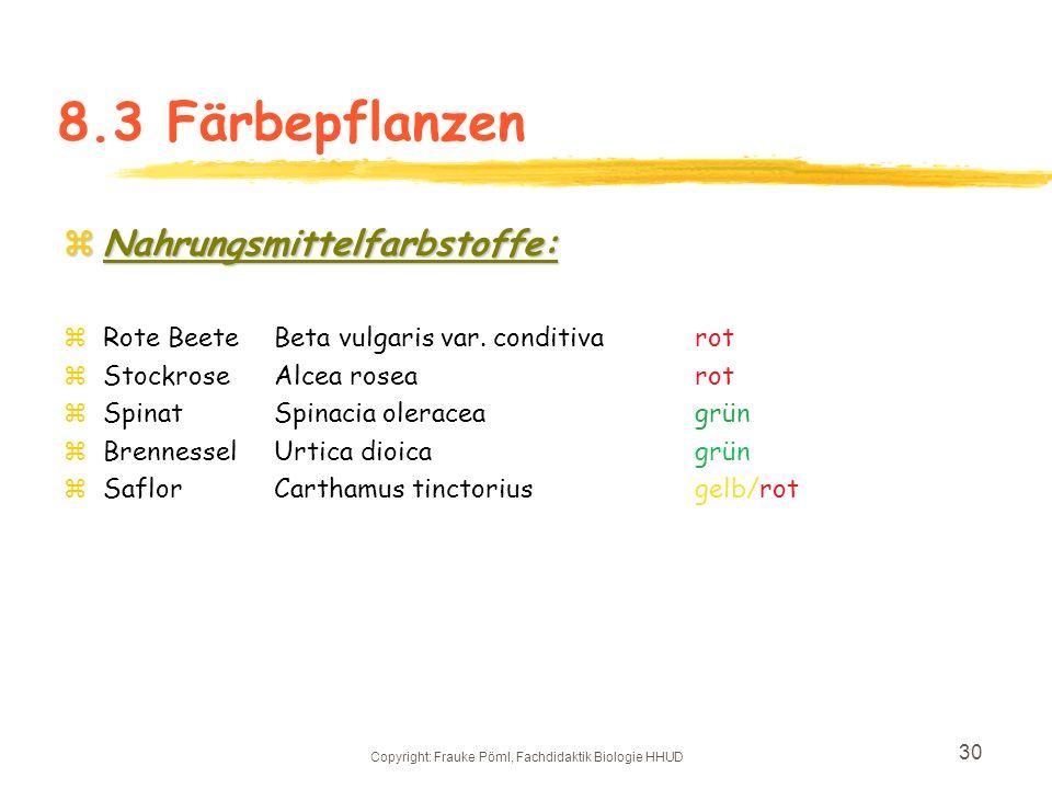 Copyright: Frauke Pöml, Fachdidaktik Biologie HHUD 29 8.3 Beispiel: Färbepflanzen zIndustriefärbepflanzen: zFärberscharteSerratula tinctoriagelb zFärb