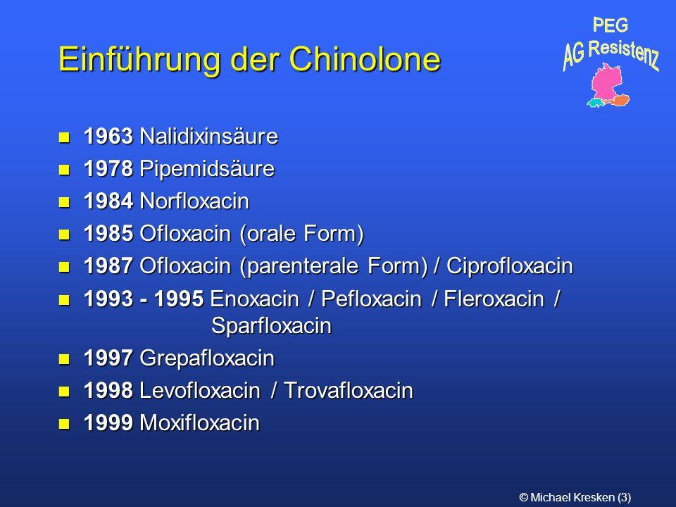 © Michael Kresken (3) Einführung der Chinolone n 1963 Nalidixinsäure n 1978 Pipemidsäure n 1984 Norfloxacin n 1985 Ofloxacin (orale Form) n 1987 Oflox