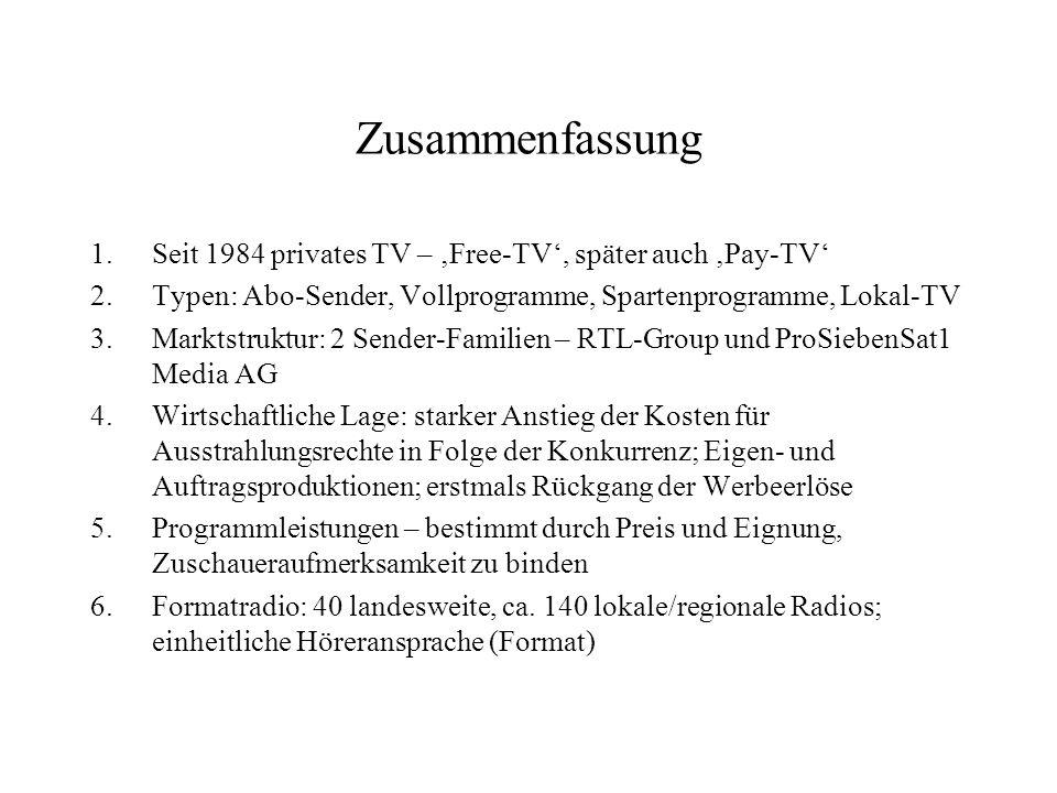 Zusammenfassung 1.Seit 1984 privates TV – Free-TV, später auch Pay-TV 2.Typen: Abo-Sender, Vollprogramme, Spartenprogramme, Lokal-TV 3.Marktstruktur: