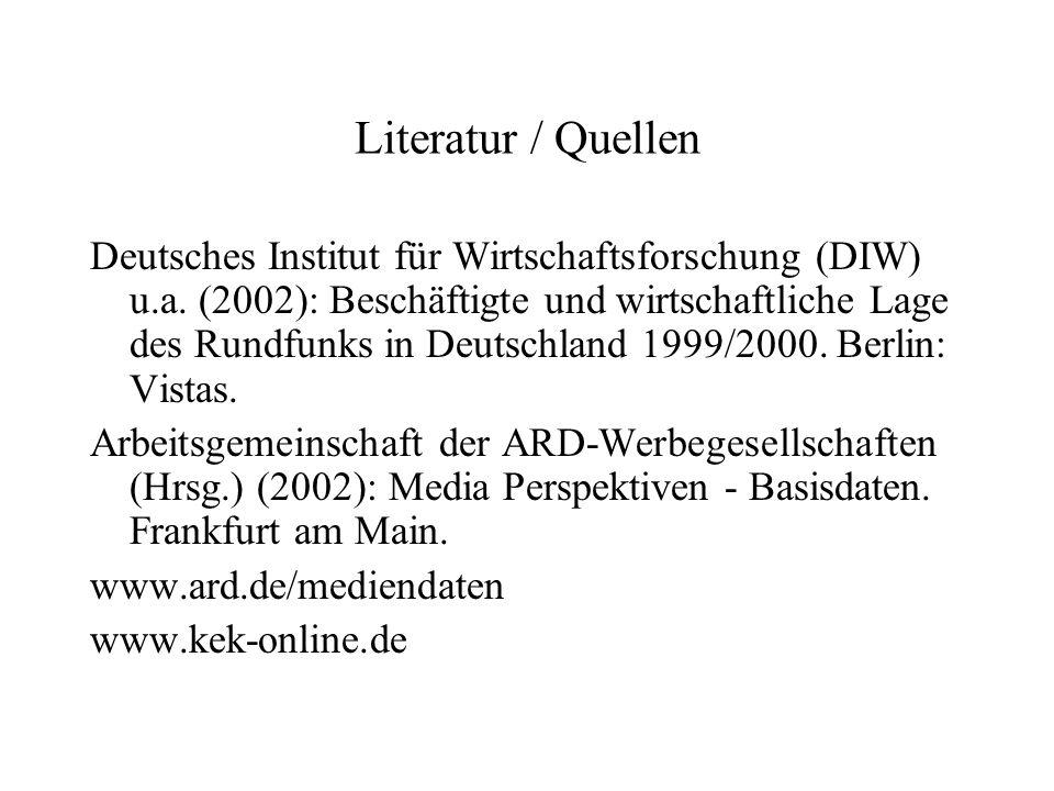 Literatur / Quellen Deutsches Institut für Wirtschaftsforschung (DIW) u.a. (2002): Beschäftigte und wirtschaftliche Lage des Rundfunks in Deutschland