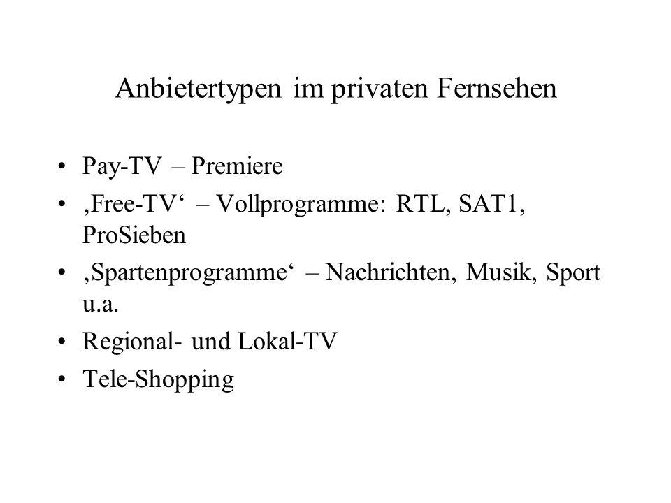 Anbietertypen im privaten Fernsehen Pay-TV – Premiere Free-TV – Vollprogramme: RTL, SAT1, ProSieben Spartenprogramme – Nachrichten, Musik, Sport u.a.
