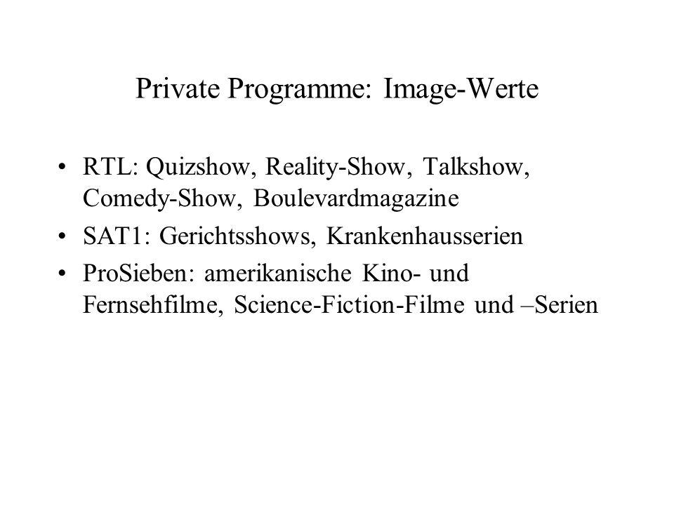 Private Programme: Image-Werte RTL: Quizshow, Reality-Show, Talkshow, Comedy-Show, Boulevardmagazine SAT1: Gerichtsshows, Krankenhausserien ProSieben: