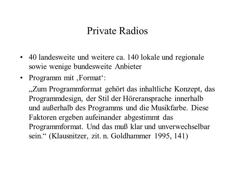 Private Radios 40 landesweite und weitere ca. 140 lokale und regionale sowie wenige bundesweite Anbieter Programm mit Format: Zum Programmformat gehör