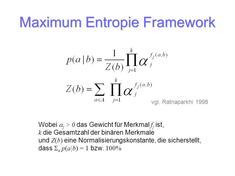 Maximum Entropie Framework Wobei j > 0 das Gewicht für Merkmal f j ist, k die Gesamtzahl der binären Merkmale und Z(b) eine Normalisierungskonstante,