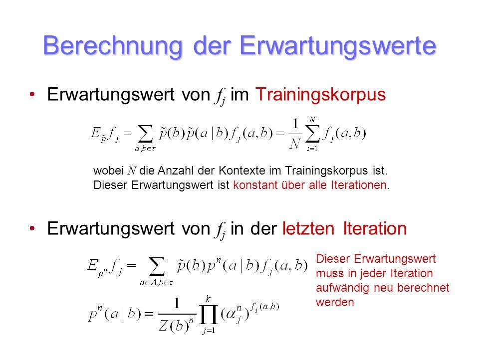 Berechnung der Erwartungswerte Erwartungswert von f j im Trainingskorpus Erwartungswert von f j in der letzten Iteration wobei N die Anzahl der Kontex