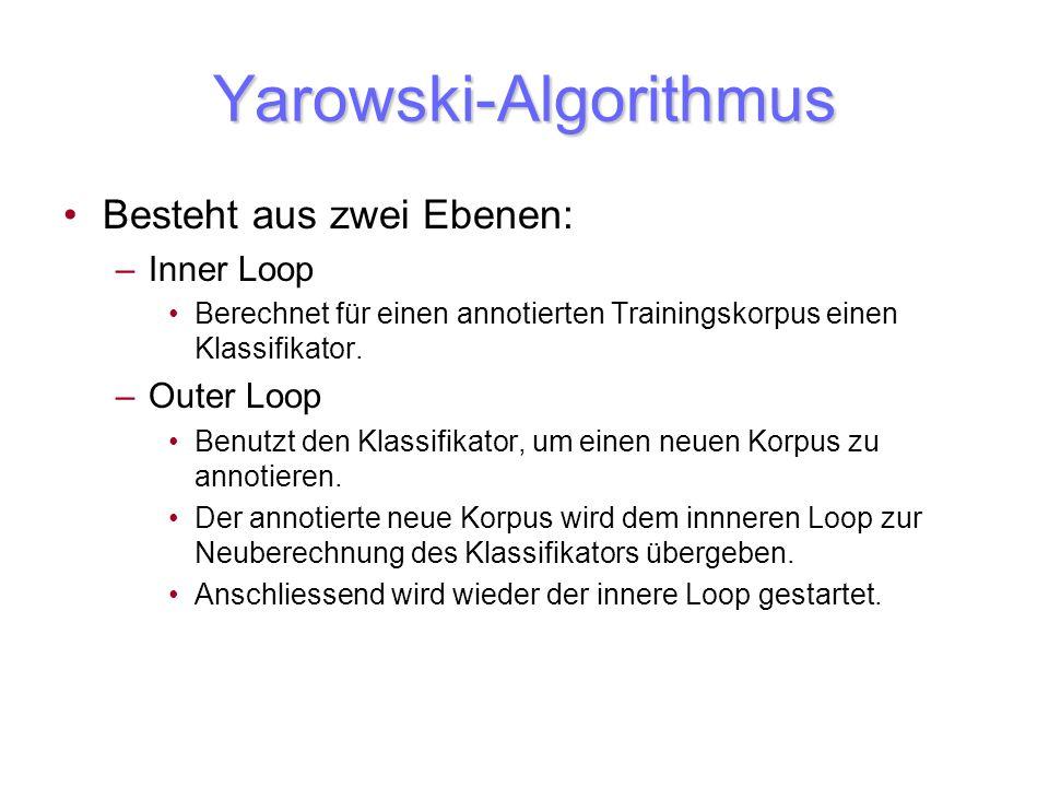 Yarowski-Algorithmus Besteht aus zwei Ebenen: –Inner Loop Berechnet für einen annotierten Trainingskorpus einen Klassifikator. –Outer Loop Benutzt den