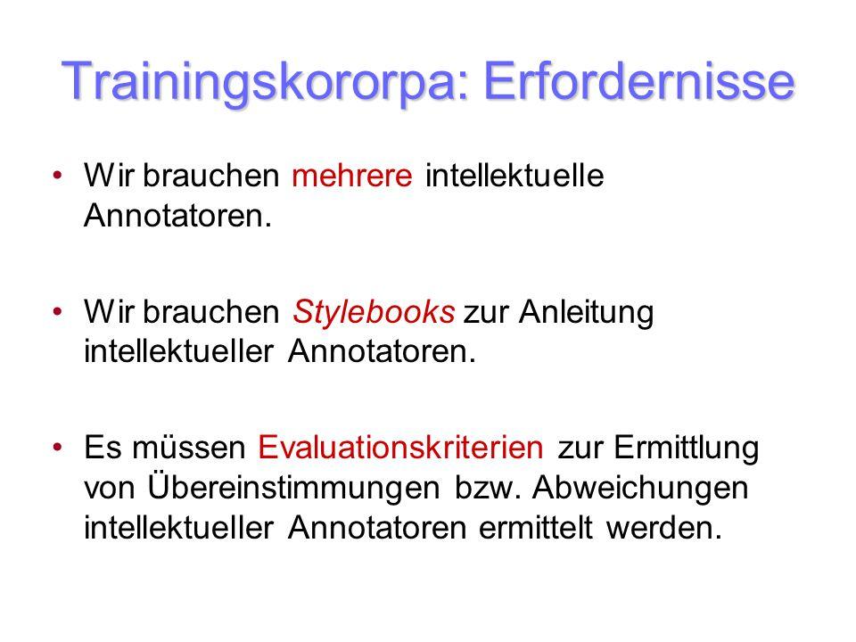 Trainingskororpa: Erfordernisse Wir brauchen mehrere intellektuelle Annotatoren. Wir brauchen Stylebooks zur Anleitung intellektueller Annotatoren. Es
