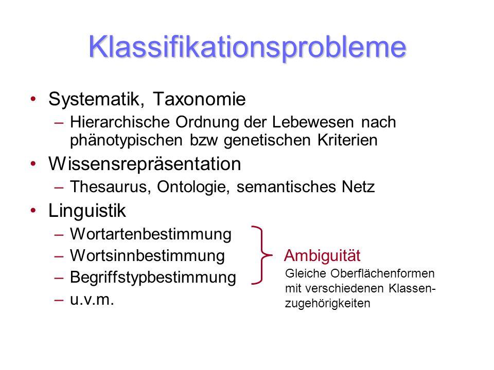 Klassifikationsprobleme Systematik, Taxonomie –Hierarchische Ordnung der Lebewesen nach phänotypischen bzw genetischen Kriterien Wissensrepräsentation