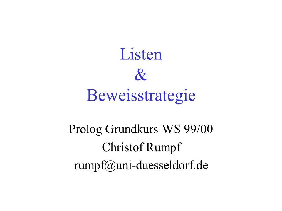 15.11.99GK Prolog - Listen, Beweisstrategie12 Rekursive Listenverarbeitung Listen sind eine rekursiv definierte Datenstruktur.