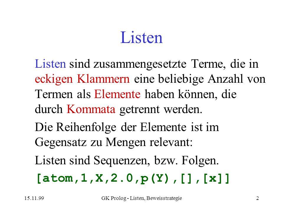 15.11.99GK Prolog - Listen, Beweisstrategie2 Listen Listen sind zusammengesetzte Terme, die in eckigen Klammern eine beliebige Anzahl von Termen als E