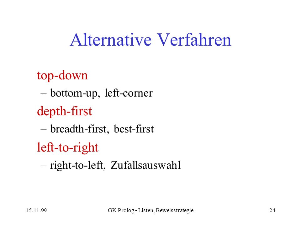 15.11.99GK Prolog - Listen, Beweisstrategie24 Alternative Verfahren top-down –bottom-up, left-corner depth-first –breadth-first, best-first left-to-ri