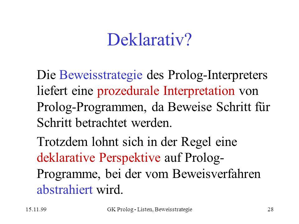 15.11.99GK Prolog - Listen, Beweisstrategie28 Deklarativ? Die Beweisstrategie des Prolog-Interpreters liefert eine prozedurale Interpretation von Prol