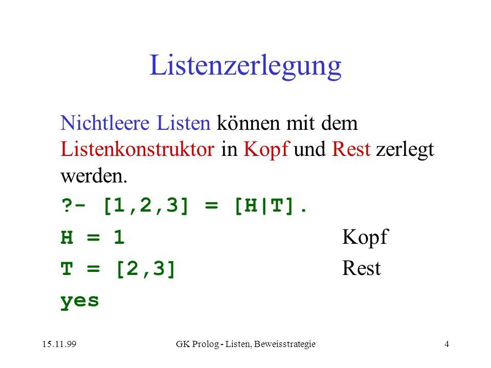 15.11.99GK Prolog - Listen, Beweisstrategie4 Listenzerlegung Nichtleere Listen können mit dem Listenkonstruktor in Kopf und Rest zerlegt werden. ?- [1