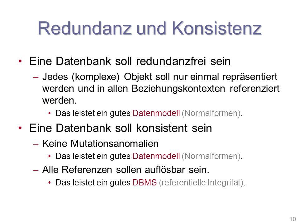 10 Redundanz und Konsistenz Eine Datenbank soll redundanzfrei sein –Jedes (komplexe) Objekt soll nur einmal repräsentiert werden und in allen Beziehun