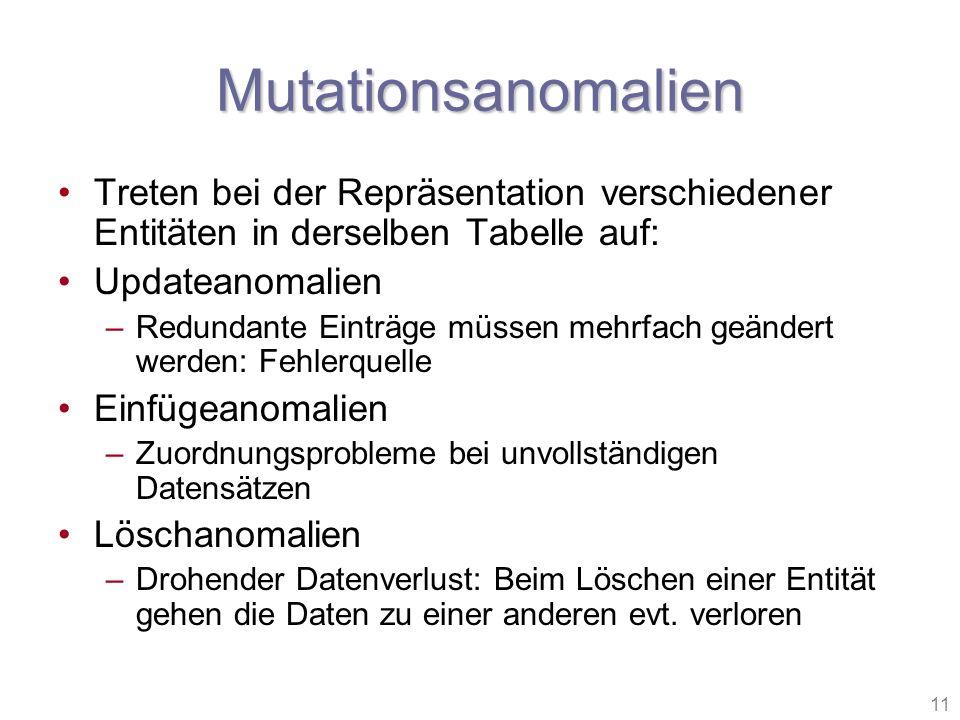 11 Mutationsanomalien Treten bei der Repräsentation verschiedener Entitäten in derselben Tabelle auf: Updateanomalien –Redundante Einträge müssen mehr