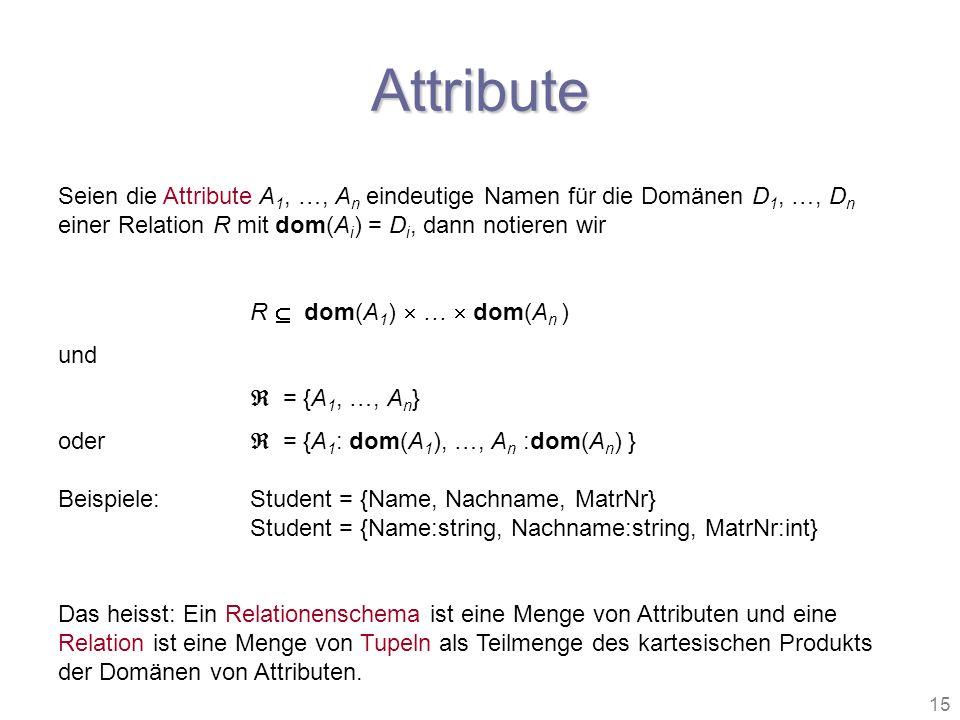 15 Attribute Seien die Attribute A 1, …, A n eindeutige Namen für die Domänen D 1, …, D n einer Relation R mit dom(A i ) = D i, dann notieren wir R do
